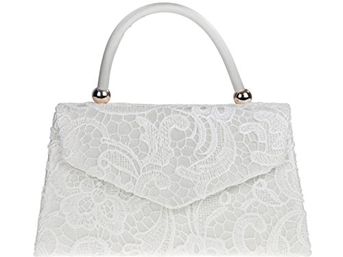 Wedding Clutch Ivory BNWT Party Lace Tote Retro Shoulder Bridal Bag Evening Handbag Floral Hand fi9® Purse YqUPBWB