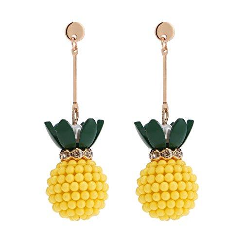 (Sparkling Yellow Emerald Crystal Vintage Trendy Fruit Pineapple Earrings Stud Jewelry Sets For Women Girls (pineapple)