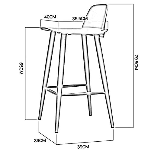 QQXX Silla de Bar Nordic High Back Bearing Taburete Alto de ...
