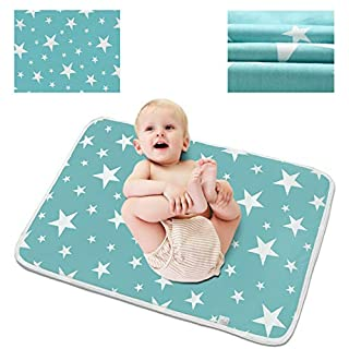 """Waterproof Diaper Changing Pad (23.6""""x 29.5""""), Entyle Washable Reusable Breathable Leak Proof Infant Mattress Pad Portable Travel Baby Changing Mat (Blue Star)"""