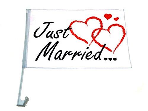 DosenSet Kunststoff 5tlg Just Married weiss  Auto  Hochzeit Deko Brautauto
