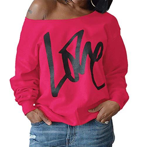 Manches Rose Sweat Shirts Pullover Hauts paule Impression Rouge Blouse Lettre T Longues Pulls Oblique Shirts Jumpers Tops Fashion Femmes 71d0qnT7