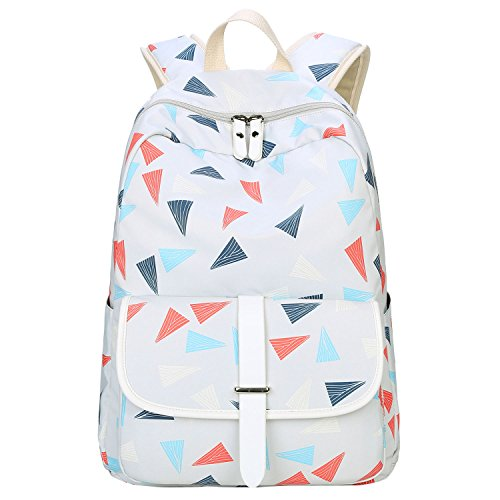 Bagerly Lightweight Canvas School Shoulder Backpack Laptop bag Travel Backpack (White)