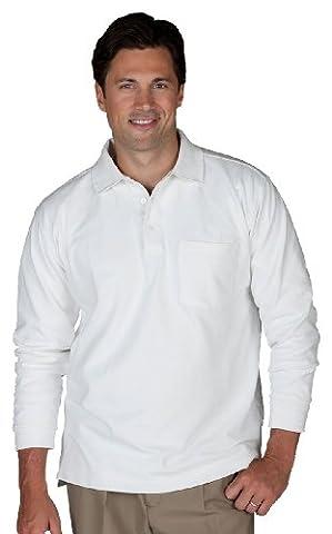 Edwards Unisex Long Sleeve Pique Polo/Pocket Shirt - Large - White