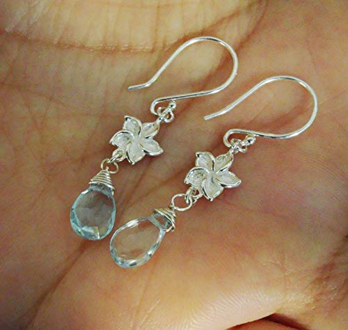 Wire Wrapped Blue Topaz Briolette with Flower Link Sterling Silver Dangle Earrings