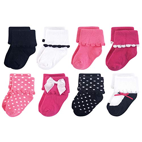 Luvable Friends Baby Basic Socks, Dressy Black And Pink 8Pk, 12-24 Months]()