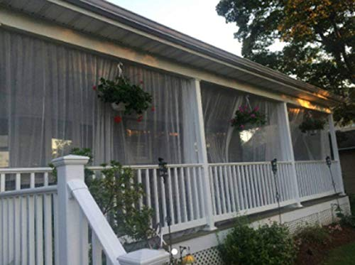 One White Outdoor Mosquito Netting Curtain (Patios With Pergolas)
