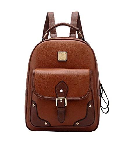 Top Shop Womens Vintage Leather Backpack Travel Daypack Handbags School Bags Shoulder Brown - Versace Outlet Uk