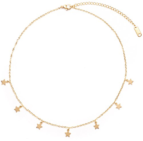 Happiness Boutique Star Pendant Necklace in Gold Color | Delicate Choker Necklace with Small Charms Stainless Steel Jewelry Nickel Free from Happiness Boutique