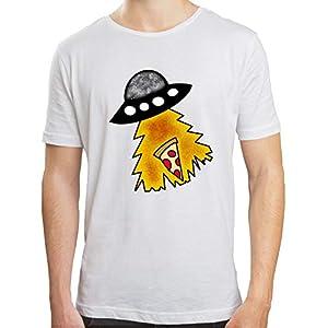 Camiseta Hombre | Camiseta Ovni Roba Pizza | Camiseta Algodón Hombre | Diseños Exclusivos | Color Blanco | Varias Tallas