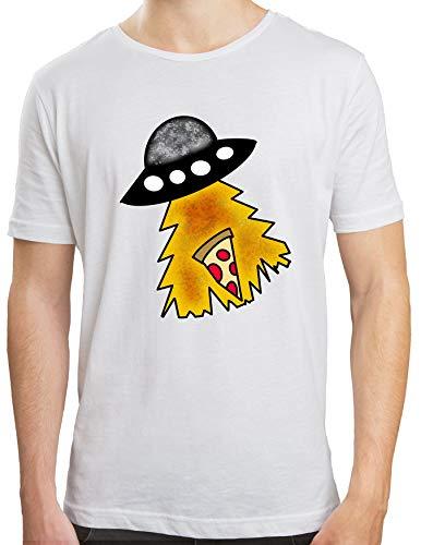 Camiseta Hombre   Camiseta Ovni Roba Pizza   Camiseta Algodón Hombre   Diseños Exclusivos   Color Blanco   Varias Tallas