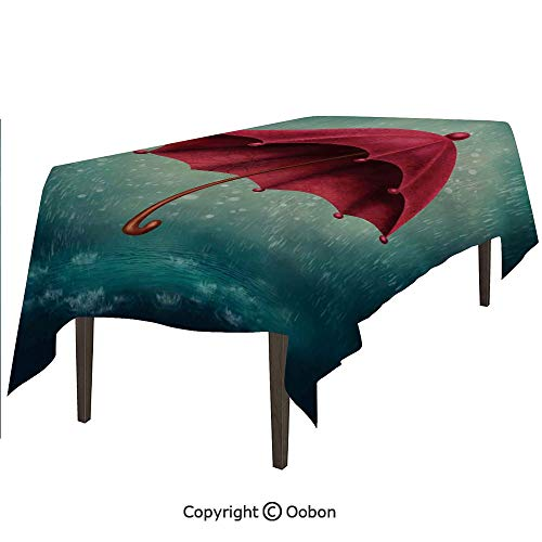 Space Decorations Tablecloth, Authentic Retro Wooden Handle Under Fall Rainfall Torrent Urban Accessory Image, Rectangular Table Cover for Dining Room Kitchen, W60xL84 inch]()