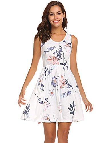 POGTMM Womens Casual Tank Dress Summer Beach Sleeveless Sundress Floral Mini Dress