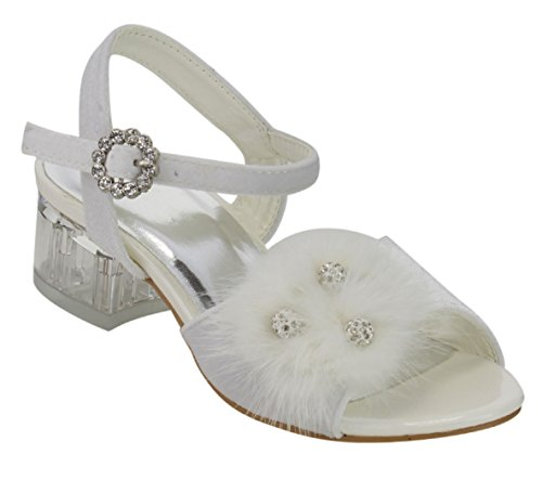 (Top White Wide Lightweight First Communion Shoe for Girl Sandalias De Tacon para Ninas Ankle Strap Buckle Open Toe Feather Fashion Junior Spring Dressy Shoe Youth Kid Children (Size 13,)