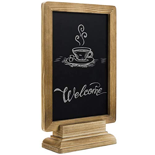 MyGift 11-inch Rustic Burnt Wood Vertical/Horizontal Chalkboard Tabletop ()