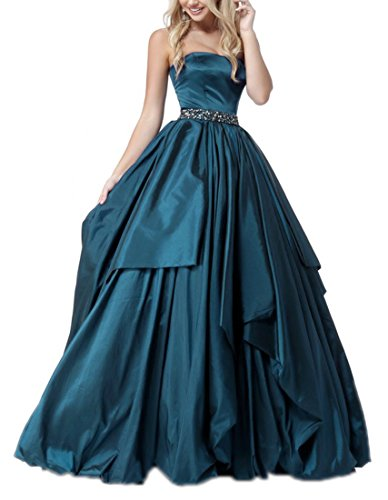 Zhongde Girl's Strapless A Line Long Evening Party Ball Gown Prom Dress Belt with Beads Teal Size 22 (Strapless Dress Taffeta Tie)