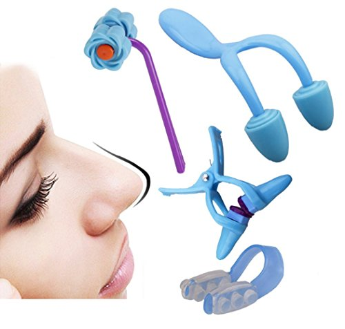 Auch Set of 4 Nose Up Lifting Shaping and Bridge Straightening, Nose Shaping Clip, Nose Massager - - Bridge Nose Up Straightening