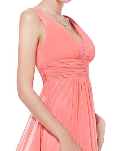 Escote Pretty Vestido Corte Mujer Noche Coral para en Largo Imperio 08110 V de Ever gqARxR