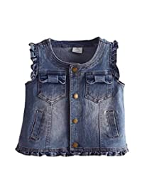 HomeToy Girl's Cute Bow Pocket Denim Vest Baby Jean Waistcoat