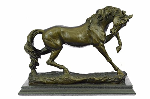(Handmade European Bronze Sculpture Large Moigniez Horse Stallion Mare Racing Trophy Collector Deco Bronze Statue -EUYDW-066-Decor Collectible Gift)