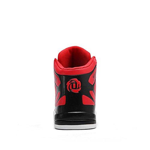 Scarpe da basket scarpe sportive Scarpe da corsa Scarpe da passeggio Scarpe da uomo traspirante Assorbimento degli urti Cuscino d'aria High-top Sport all'aria aperta Usura antiscivolo , Red , UK 8.5 /