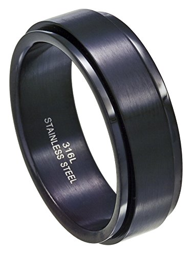 Men's Black Stainless Steel 8mm Spinner Ring with Polished Finish Size 12.5