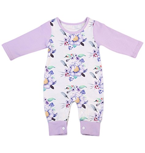Newborn Baby Girls Floral Romper Summer Autumn Long Sleeve Romper Jumpsuit Playsuit Outfit 0-24M (6-12 Months, Purple)