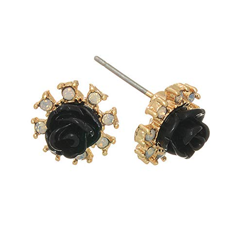 3/8 Black Rose Flower Clear AB Rhinestone Floral Gold Tone Stud Post Earrings id-531