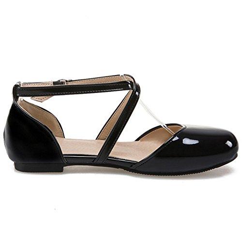 COOLCEPT Mujer Moda Criss Cruzado Sandalias Plano Cerrado Zapatos Tamano Negro
