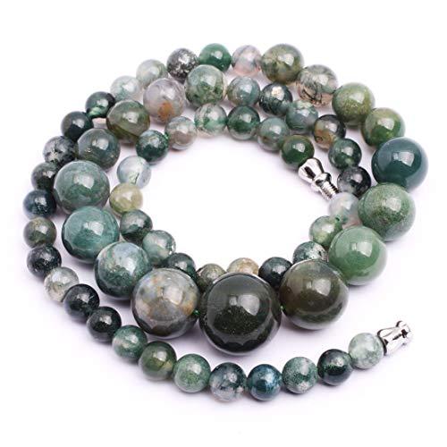 GEM-inside Necklace Pendant Graduated Gemstone Moss Agate Crystal Unisex 17.5 Inches Fashion Jewellry 6-14mm