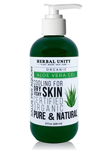 96% Aloe Vera Gel - Natural Pure Ingredients - Unscented Cold Pressed Certified Organic - After Sun - Fast Absortion - Itch Relief - Skin Moisturizing and Cooling