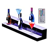 SUNCOO LED Lighted Liquor Bottle Display 40'' 2 Step Illuminated Bottle Shelf 2 Tier Home Bar Drinks Lighting Shelves with Remote Control
