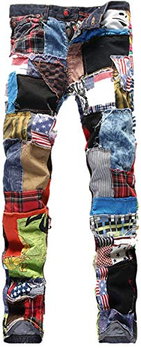 M Colour Locomotiva Fashion Da Straight Jeans Retro Ragazzi Pantaloni Uomo Stretch Patchwork Classiche Pants Denim Elastico Casual 17wTgax