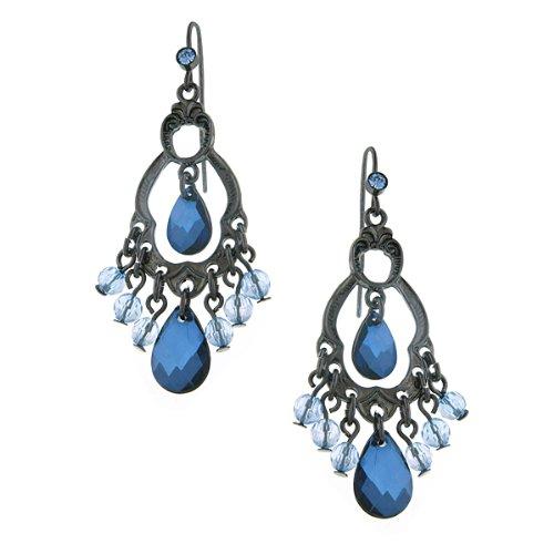 1928 Jewelry Classic Blue Chandelier Earrings -