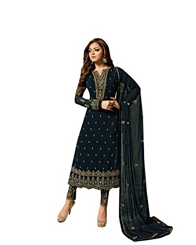(Delisa Indian/Pakistani Fashion Salwar Kameez for Women 01 (Blue-02, X-LARGE-44))