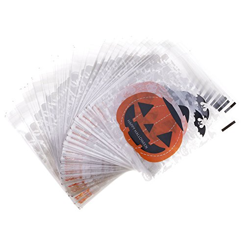 Huayang  100 Pcs 10 cm x 10 cm Clear Halloween Cartoon Self-adhesive Plastic goody bags Snacks Candy Bags Package for Bakery Cookie - Pumpkin