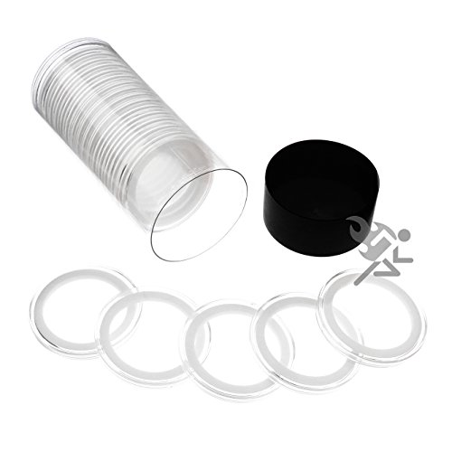 Black Lid Capsule Tube & 20 Air-Tite 38mm White Ring Coin Holders for 1oz Silver Dollars (1 Dollar Coin Holder)