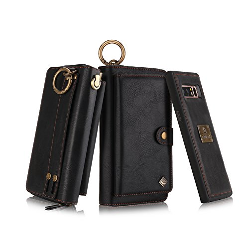Galaxy Note 8 Zipper Wallet Case, B4Uebuy Multifunction Handmade Premium PU Leather [Detachable Wallet Folio][Build in Metal Plate][Wrist lanyard]Purse & Card Slots for Samsung Galaxy Note 8(Black) (Note Multifunction Leather)