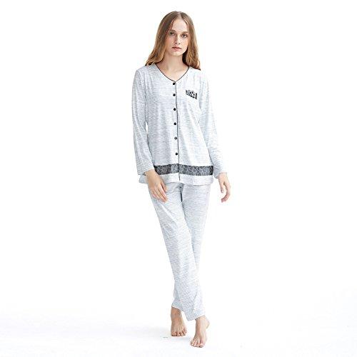 algodón señoras pijama conjunto/ manga larga rayas pijama casual/Encaje Cardigan botón servicio a domicilio paquete A