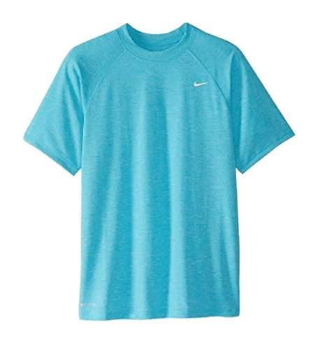 Nike Swim Men's UPF 40+ Short Sleeve Rashguard Swim Tee, Light Blue Fury Heather, - Apparel Athletic Heather