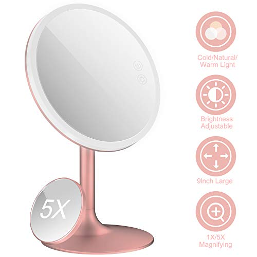 "BABYLTRL 9"" Makeup Mirror Vanity Mirror with Lights, 3 Color Lighting Modes 70 LED Lighted Mirror, 1X/5X Magnification, Touch Screen Switch, 90 Degree Rotation, Portable Cosmetic Lighted Up Mirror"