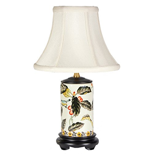 Small Birds & Berries Porcelain Table Lamp