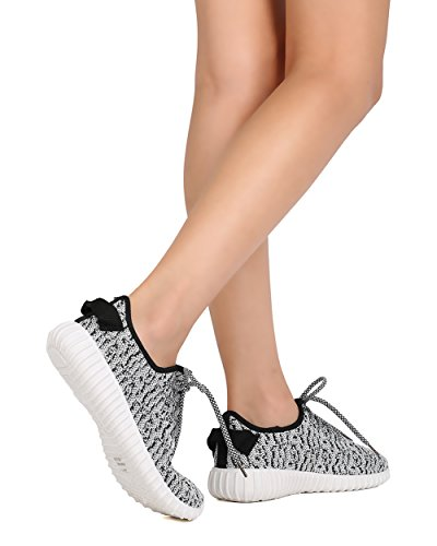 Dbdk Ff53 Femmes Tissu En Maille Lace Up Jogging Sneaker Noir / Blanc