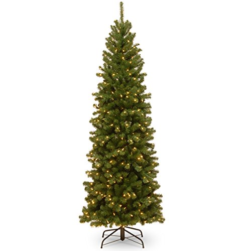 National Tree 7.5 Foot North Valley Spruce Pencil Slim Tree with 400 Clear Lights, Hinged (NRV7-358-75)