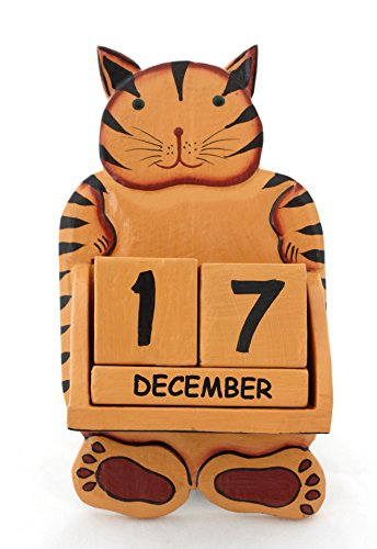 G6 COLLECTION Wooden Wall Smiley Cat Perpetual Hanging Calendar Handmade Unique Removable Blocks Decorative Accessory Accessories Handcrafted Hand Carved Decoration Forever Never Ending Calendar Decor
