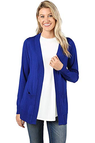 Sportoli Cardigans for Women Open Front Knit Long Sleeve Pockets Sweater Cardigan -Denim Blue (2X)