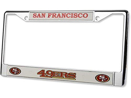 San Francisco 49ers Official NFL 12 inch x 6 inch Chrome License Plate Frame by Rico Industries