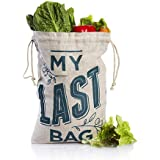Guilt Free Pantry - The Veggie Bag - Zero Waste - Eco Friendly - Made From Hemp - Stores Fruit & Vegetables - Keeps Food Fresh - Medium Size - Tare Weight Printed On Bag
