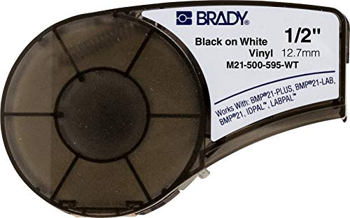 Brady High Adhesion Vinyl Label Tape (M21-500-595-WT) - Black on White Vinyl Film - Compatible with BMP21-PLUS, IDPAL, and LABPAL Label Printers - 21' Length, 0.5