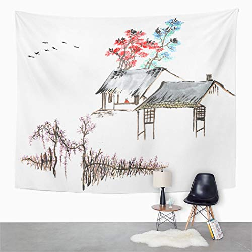 Peyqigo Wall Hanging Tapestry Classic Chinachinese Paintingthe Old House Country Abstract Animal Art Biology Polyester Living Room Dorm Decoration Picnic Mat Beach Towel Home Decor 50 X 60 Inches (Choose The Best Definition Of Folkways)